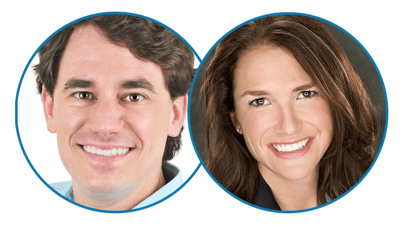 Head shots of Drs. Dustin and Elizabeth Kidder, Invisalign dentist in Baton Rouge, LA.